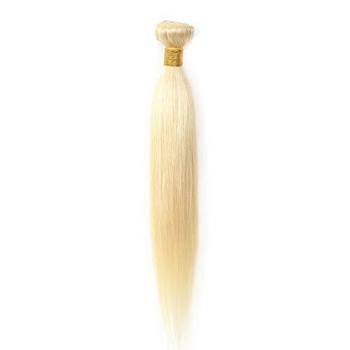 Ugeat 45cm 100% Echthaar Tressen Blond zum Einnähen 100g Gute Qualitat Glatt Haarverlangerung Echthaar Weaving Extensions #613 Gebleichtes Blond