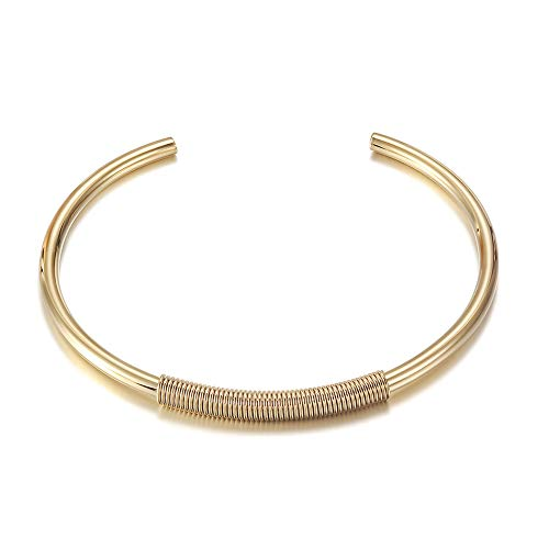 CIUNOFOR Cuff Bracelet for Women Girls Gold Plated Inspired Antique Stainless Steel Twisted Bangle