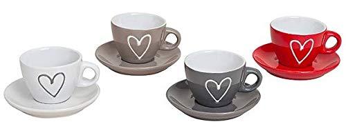 4er Set Premium Espressotassen 50ml mit Untertassen 5x6cm rot, grau, beige weiß aus Keramik Tassen-Set mit Herz - Tassen - 4 Farben, Espressotasse mikrowellen-, spülmaschinengeeignet