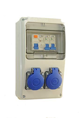AW-TOOLS Baustromverteiler/Wandverteiler 2 x 230V/16A Schuko + LS und FI verdrahtet