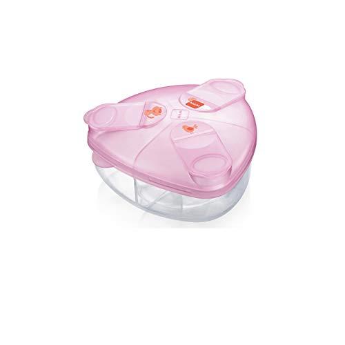 MAM Milchpulverspender, Milchpulver Box zum einfachen Befüllen von Babyflaschen, Milchpulverportionierer fasst bis zu 3 Portionen, 0+ Monate, Tiger/Vogel