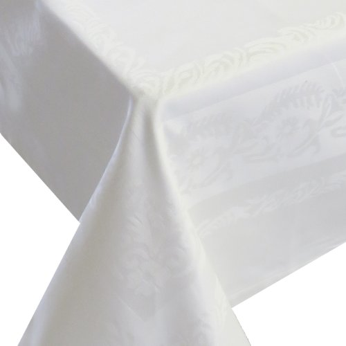 Afverkoop damast tafelkleed JACQUARD wit 145 x 220 cm Art 145x220 Vierkant 100% lotuseffect (waterafstotend) katoen van DecoHometextil