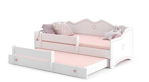 MEBLEKO Cama nido cama infantil EMMA 80 x 160 + 2 marcos + 2 colchones, color blanco