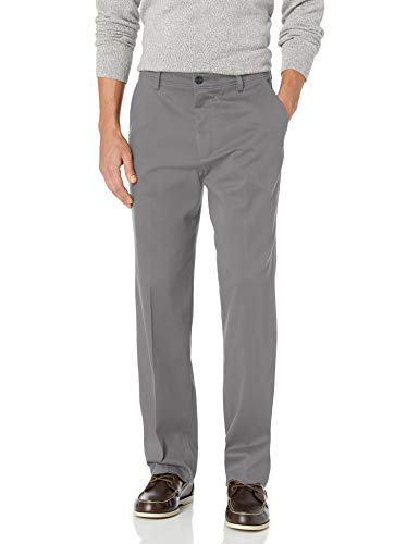 DOCKERS Men's Classic Fit Easy Khaki Pants (Regular and Big & Tall), Burma Grey (Stretch), 42W x 32L