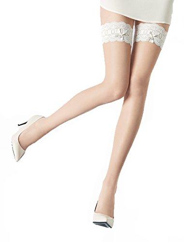 Marilyn transparente halterlose Strümpfe mit 8.7 cm Spitze, 20 Denier, Größe 36/38 (S/M), Farbe Beige (visone & white)