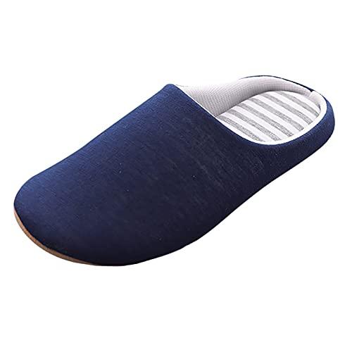 URIBAKY - Pantuflas planas para mujer con punta redonda y pantuflas casas de terciopelo, espuma viscoelástica, Pantuflas antideslizantes para interior y exterior, azul marino, 42 EU