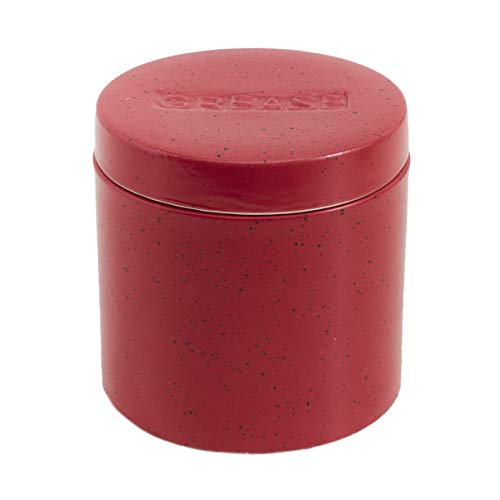 Stoneware Grease Cannister with Strainer for Bacon Fat Drippings, Hot Oil - Red