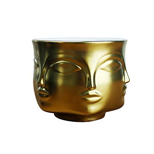CLIUS Macetero de cerámica para decoración de jardín con Varios Lados, Ideal para Interiores, oficinas, etc, Dorado, Tamaño Libre