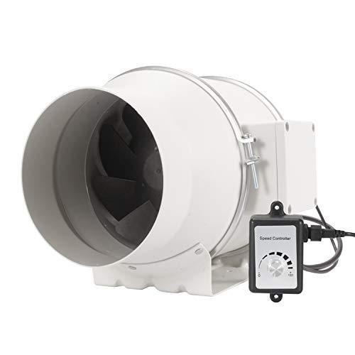 Hon&Guan Extractor de Aire Silencioso 150mm con Controlador de Velocidad Variable - Motor EC 110V-240V Ventilador de Conducto de Ventilación en Línea para Baño, Hidropónicos (ø150mm)