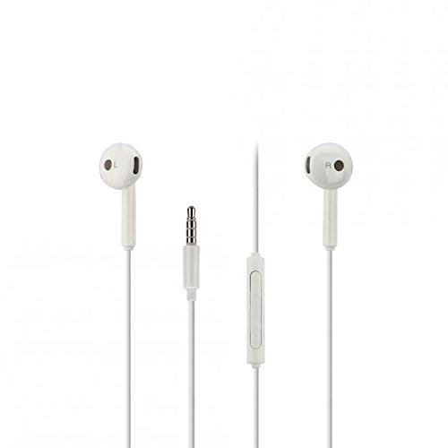 Original Huawei Headset AM15 in Weiss für P10 Lite Kopfhörer Ohrhörer geformt Head-Set 3,5mm Stecker Stereo Sound Bulk verpackt + gratis Bildschirm Reinigungspad