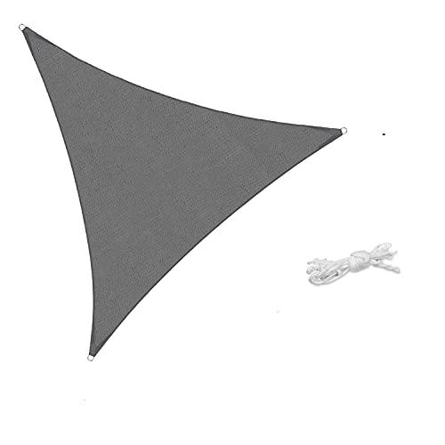 Sekey Toldo Vela de Sombra Triángulo HDPE Protección Rayos UV Resistente Permeable Transpirable para Patio, Exteriores, Jardín, 3× 3× 3m Antracita, con Cuerda Libre
