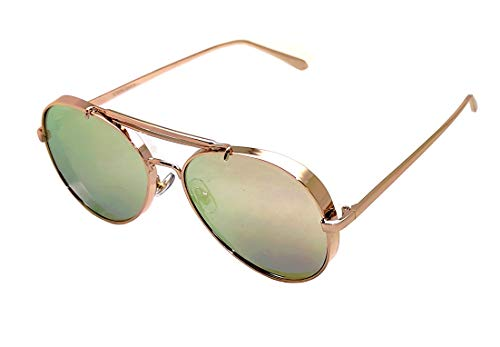 Gafas de sol de aviador gruesas de lujo, cobre, rosa dorado, piloto mixto