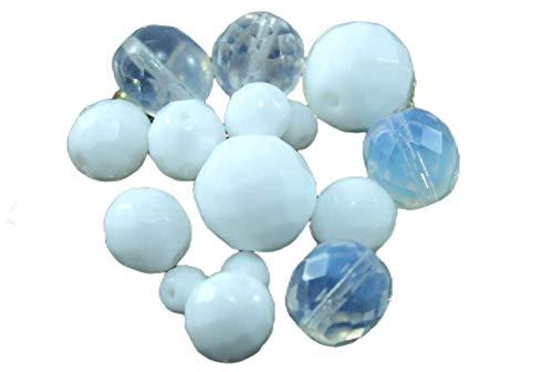 Mélanger le Blanc Opaque Clair de Lune tchèque Facettes Feu Poli Ronde Perles de Verre de 14mm 20g Environ 30pcs