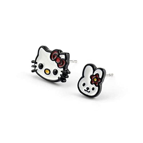 XCWXM Lindos helo Gatitos Conejo Pendientes de Gato Tom Jerry Pendientes Gato Oso Conejito Chica pendientes-C-256