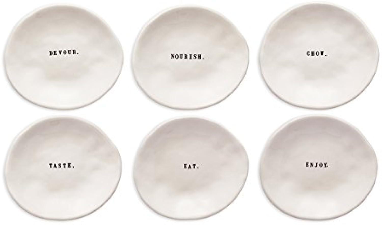 Rae Dunn Magenta Word Eating Dishes Set of 6 Small Plates Appetizer Dessert  Devour. Nourish. Chow. Taste. Eat. Enjoy.