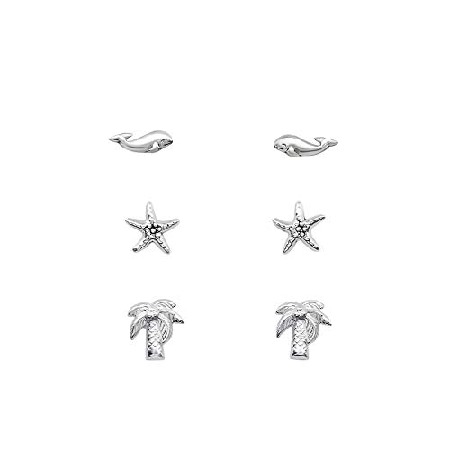 The Rose & Silver Company Women 925 Sterling Silver Whale Starfish Palm Tree Stud Earrings Set RS1046