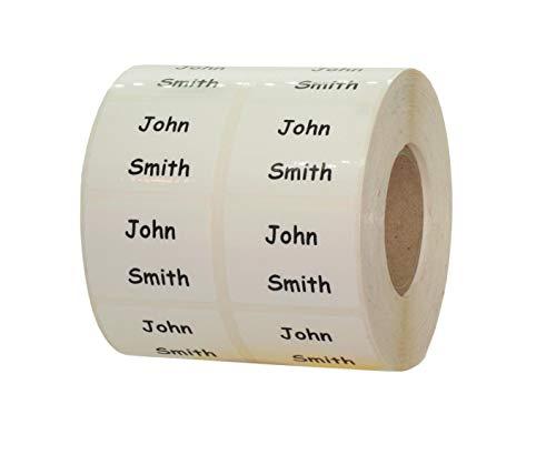 100 etiquetas para nombre, etiquetas para dirección, 40 x 30 mm, color blanco con impresión negra, lámina de impresión, personalizable.