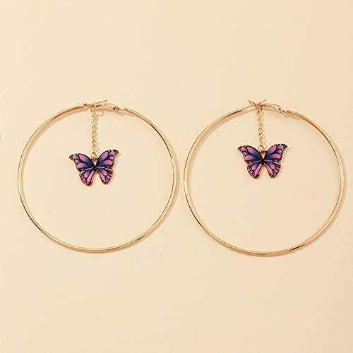 CXWK Hermosos Pendientes de Mariposa Doble para niñas de Verano Europeo, Pendientes de aro de Oro con círculo Grande y Redondo, joyería para Mujeres