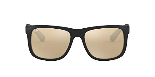 Ray-Ban Unisex Justin Sonnenbrille, Schwarz (Gestell: Schwarz, Gläser: Gold Verspiegelt 622/5A), Medium (Herstellergröße: 51)
