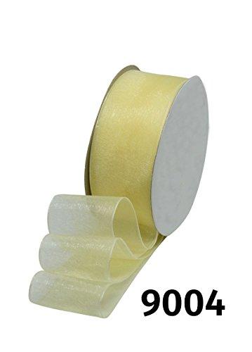 32m Rolle Organzaband Chiffonband Schleife Dekoband Band Geschenkband Deko Schleifenband Tischband • 6 Breiten und 28 Farben zur Auswahl (9004 / Creme, Breite 25mm)