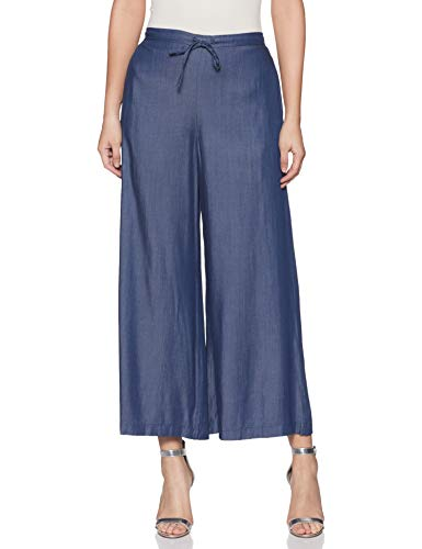 BIBA Damen Synthetische Palazzo Hose (DENIM15098DENIM Blue_Denim Blu_M)