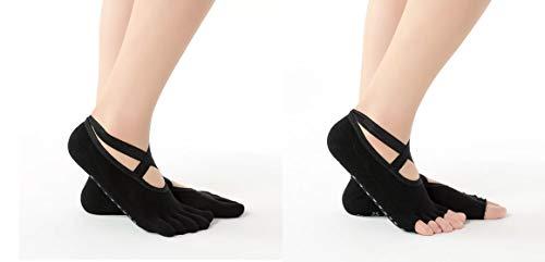 Trifoglio Calcetines para mujer Yoga Pilates Antideslizante, 2 unidades con y sin dedos, para Pilates y yoga (negro)