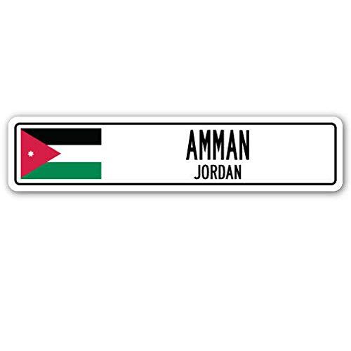 SIGNCHAT, Cartello Stradale New Road Sign Amman Jordan, Bandiera della Giordania, Città, Paese, Strada, Regalo Vintage, Cartello Stradale 10,2 x 40,6 cm