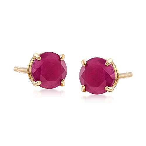 Ross-Simons 0.60 ct. t.w. Round Ruby Earrings in 14kt Yellow Gold For Women
