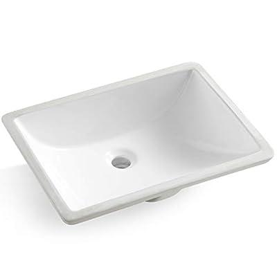 "Koozzo 20"" Undermount Fireclay Bathroom Sink, Rectangular Single Bowl with Overflow, White Vanity Vessel Sink/Art Basin, MJ-202M"