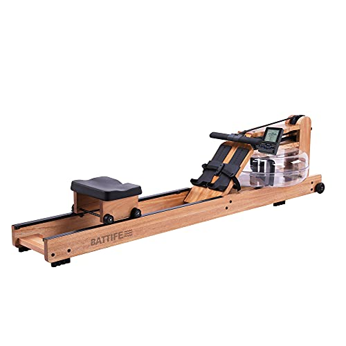 BATTIFE Water Rowing Machine with Bluetooth Monitor, Solid Red Walnut Wood Rower 350 lb Weight Capacity for Home Gyms Fitness Indoor Training Use with a Workout Gloves