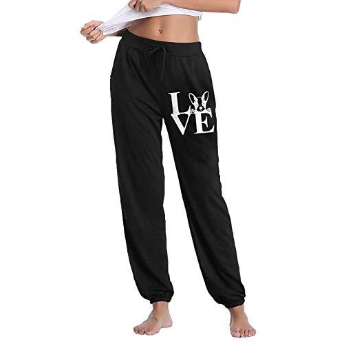 Love French Bulldog-1 Women's Jogger Sweatpants Drawstring Waist Running Pajama Pants Activewear with Pocket Black