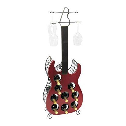 CAPRILO. Botellero Decorativo para Botellas y Copas de Vino Guitarra Eléctrica. Muebles Auxiliares. Menaje de Cocina. Regalos Originales. 113 x 40 x 17 cm.
