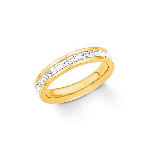 S.Oliver Damen Ring Edelstahl IP Gold veredelt mit Swarovski Kristallen in weiß Breite 4mm