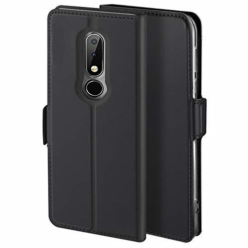 HoneyCase für Handyhülle Nokia 6.1 Plus Hülle Leder Premium Tasche Case für Nokia 6.1 Plus, Schutzhüllen aus Klappetui mit Kreditkartenhaltern, Ständer, Magnetverschluss, Schwarz
