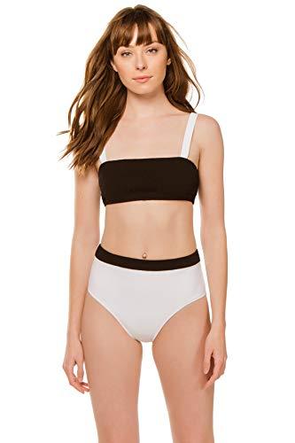 Kisuii Women's Lilis Bandeau Bikini Top Black/White L