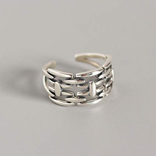 Damen 925 Sterling Silber Verstellbar Ringe,Frauen Silber Ring Weave Zaun Große Hohle Montagefläche Vintage Frauen Ringe Verstellbar Stitch Punk Weibliche Ring Schmuck