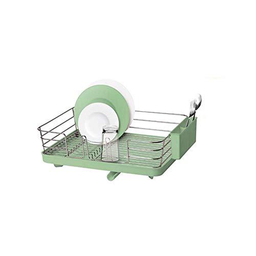 Besteck Wäscheständer -Küche Edelstahl Abfluss Lagerregal Halter Küchengerät Trockner Korb Geschirr Abfluss Halter Spüle Aufräumen Organisatoren (Farbe: Grün, Größe: 1-Tier)