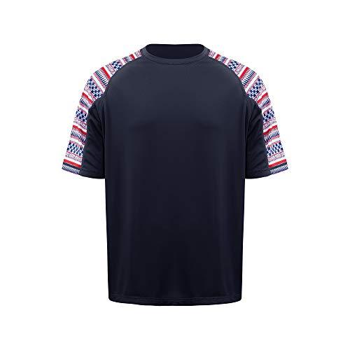 Men's Basic Skins UPF Protection Short Sleeve Rash Guard Swim Shirt (Mazarine Blue, Small)