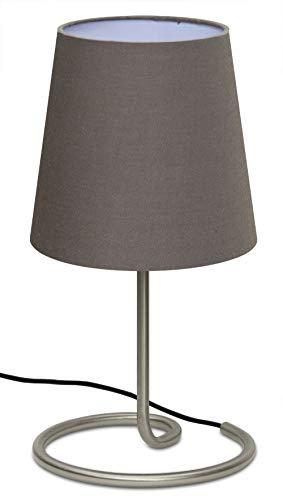 Trango Lámpara de mesa, mesilla de noche, lámpara de escritorio TG2018-05B'Brownie' con pantalla de tela en marrón Ø 170 mm, altura: 325 mm