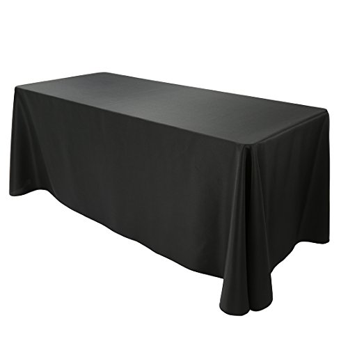 E-TEX Oblong Tablecloth - 90 x 132 Inch Rectangle Table Cloth for 6 Foot Rectangular Table in Washable Polyester ,Black