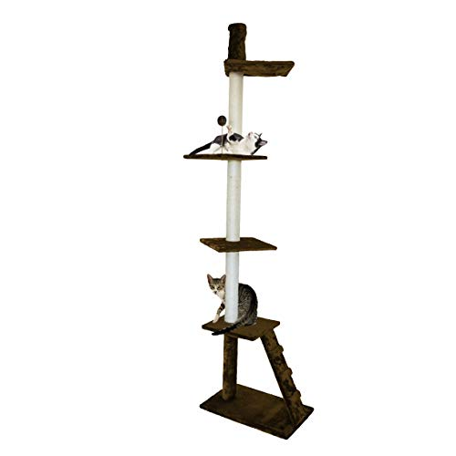 Furhaven Pet Cat Tree | Tiger Tough Cat Tree House Perch Entertainment Playground Furniture for Cats & Kittens, Ladder Playground, Brown