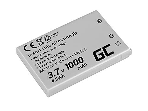 Green Cell® EN-EL5 EN-EL5A Kamera-Akku für Nikon Coolpix 3700 4200 5200 5900 7900 P3 P4 P80 P90 P100 P500 P510 P520 P5000 P5100 P6000 S10, Full Decoded (1000mAh 3.7V)