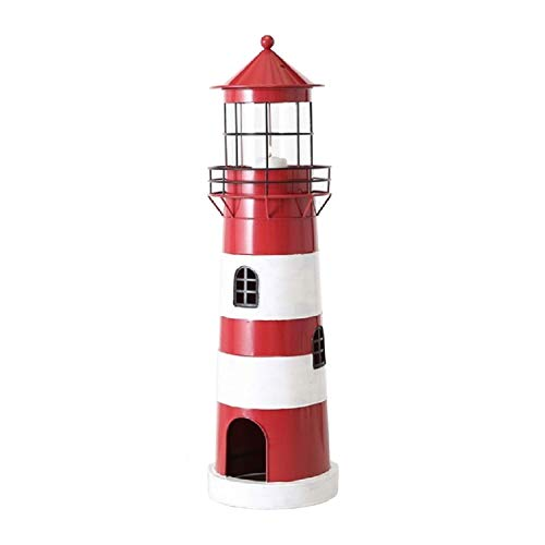 Home Collection Metall Laterne Windlicht Leuchtturm H64cm rot Eisen lackiert