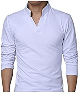 Wanxiaoyyyinnscx Long Sleeve Shirts, T-Shirts,Men T-shirt Solid Color Long Sleeve V Neck Slim Pullover Top for Spring (Col...