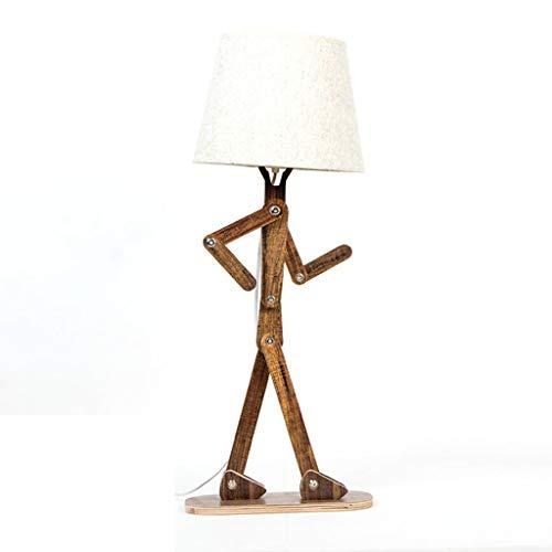 Lampe de table lampe de chevet personnalisée lampe de bureau lampe de table en bois massif du salon lampe de table simple pour enfants lampe de table créative humanoïde A+ (Color : Brown)