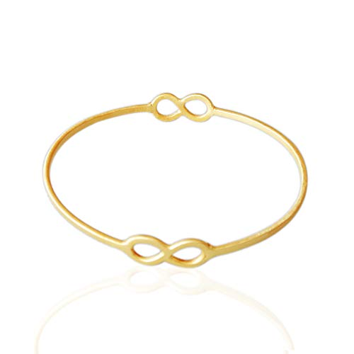 18K Yellow Gold Plated Over Brass Plain Infinity Design Bangle Bracelet, Classic Bangle, Modern Bangle, Unique Gift Ideas For Girlfriend