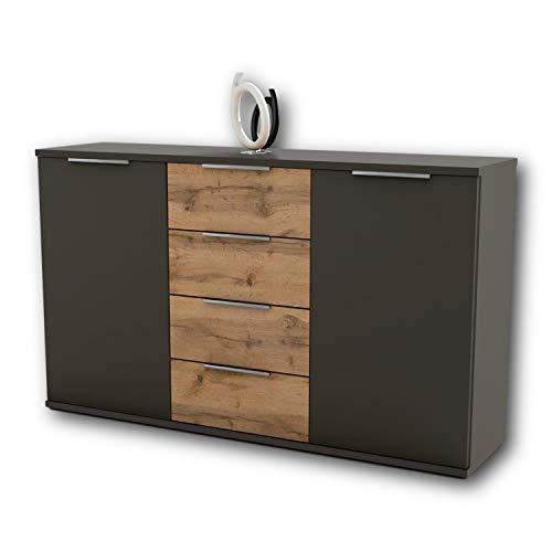 Capri Schlafzimmer Kommode in Wildeiche Optik, Anthrazit - modernes & ausdrucksstarkes Softclose Sideboard für Ihr Schlafzimmer - 150 x 90 x 38 cm (B/H/T)