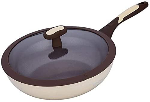 TINGFENG Wok Cerámica Wok Ceramic No-Stick Utensilios de cocina Sano menos aceitoso Humo Cocinar Pot Invitación de gas Pot