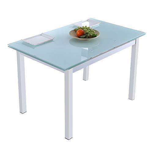 Milan, Mesa de Cristal Extensible para Comedor, Salón o Cocina, Acabado en Cristal Ahumado Blanco, Medidas: 110-170 cm (Largo) x 70 cm (Fondo) x 75 cm (Alto)