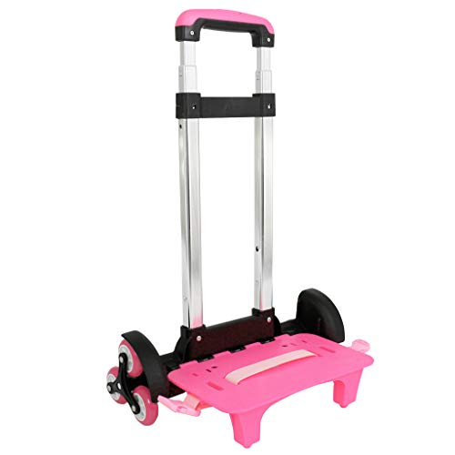 Backpack Trolley - Wheeled Trolley Hand Aluminium Alloy Non-folding Trolley Cart for Backpack (Pink, 6 Wheels)
